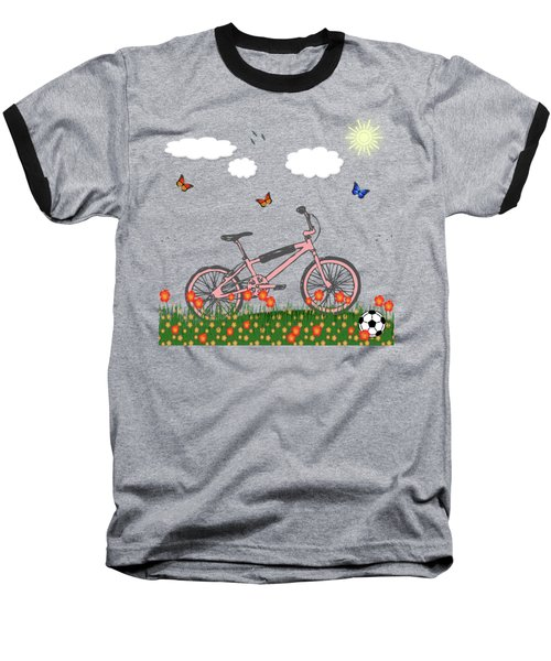 Pink Bicycle Baseball T-Shirt