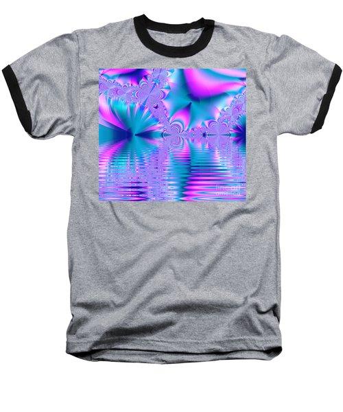 Pink, Blue And Turquoise Fractal Lake Baseball T-Shirt