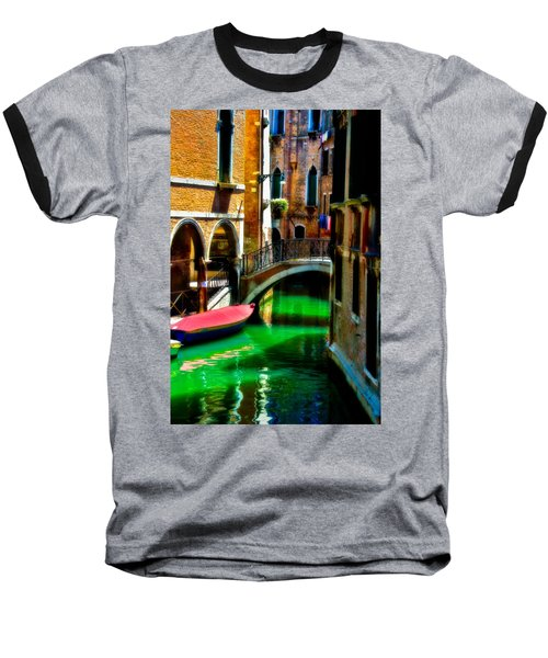 Pink Boat And Canal Baseball T-Shirt