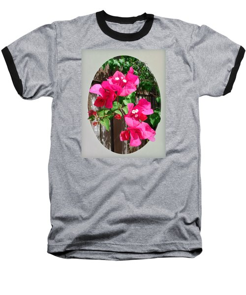 Pink Bougainvillea Baseball T-Shirt by Ginny Schmidt