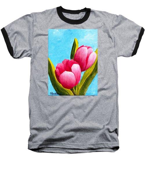 Pink Bubblegum Tulips I Baseball T-Shirt by Phyllis Howard