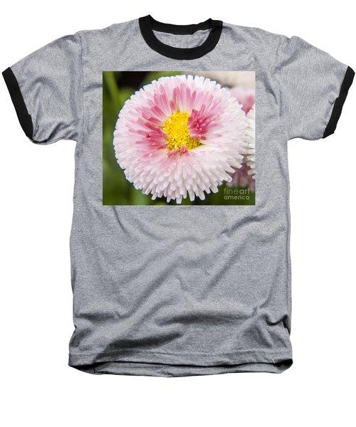 Pink Button Flower Baseball T-Shirt