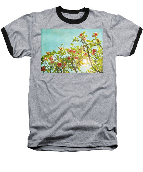Pink Camellia Japonica Blossoms And Sun In Blue Sky Baseball T-Shirt by Brooke T Ryan