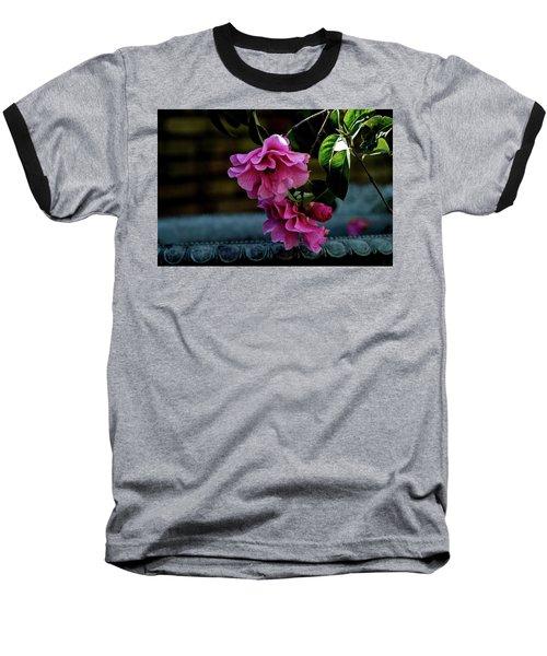 Pink Camellia Baseball T-Shirt