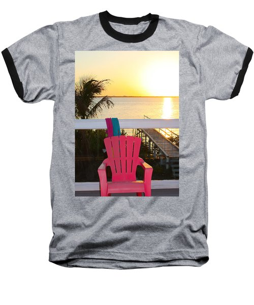 Pink Chair In The Keys Baseball T-Shirt
