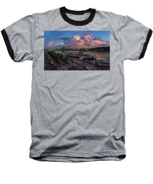 Pink Clouds Above The Danube, Budapest Baseball T-Shirt