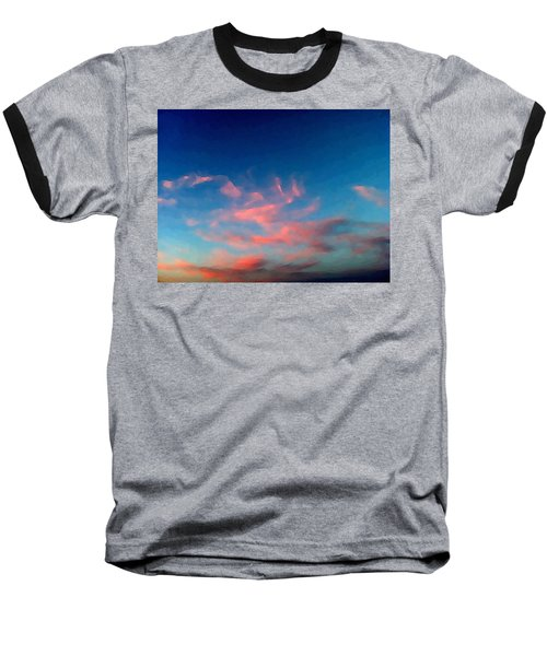 Baseball T-Shirt featuring the digital art Pink Clouds Abstract by Shelli Fitzpatrick