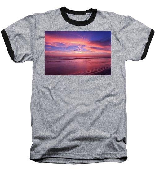 Pink Sky And Ocean Baseball T-Shirt