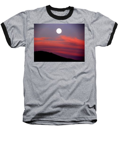 Pink Clouds With Moon Baseball T-Shirt