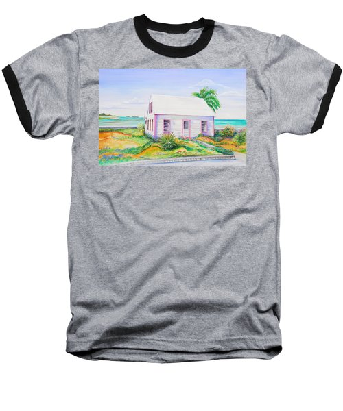 Pink Cottage Baseball T-Shirt by Patricia Piffath