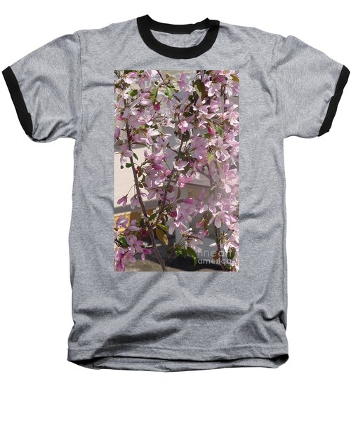 Pink Crabapple Branch Baseball T-Shirt