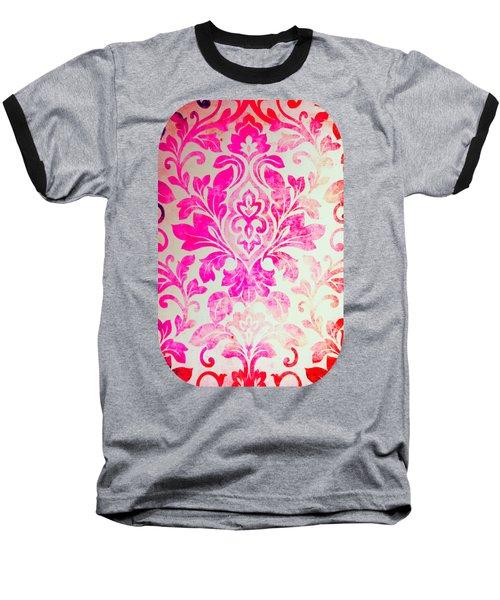 Pink Damask Pattern Baseball T-Shirt