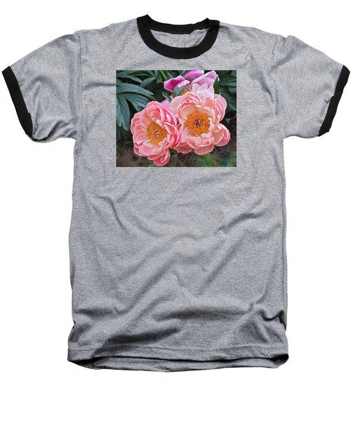 Pink Duo Peony Baseball T-Shirt by Janis Nussbaum Senungetuk