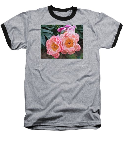 Pink Duo Peony Baseball T-Shirt
