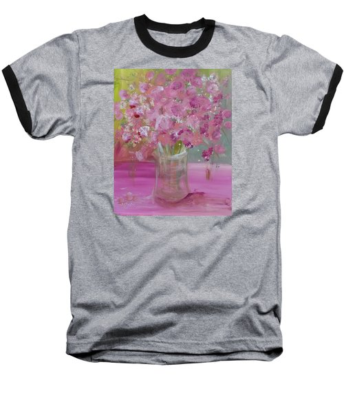Pink Explosion Baseball T-Shirt by Terri Einer