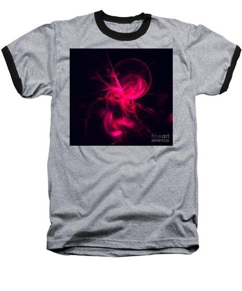 Pink Flame Fractal Baseball T-Shirt