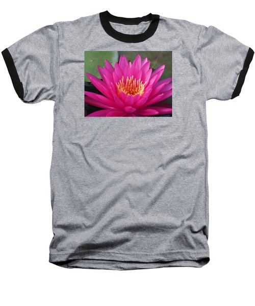 Pink Flame Waterlily Baseball T-Shirt