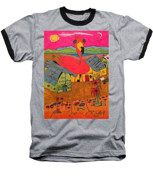 Pink Flamingo Camp Baseball T-Shirt