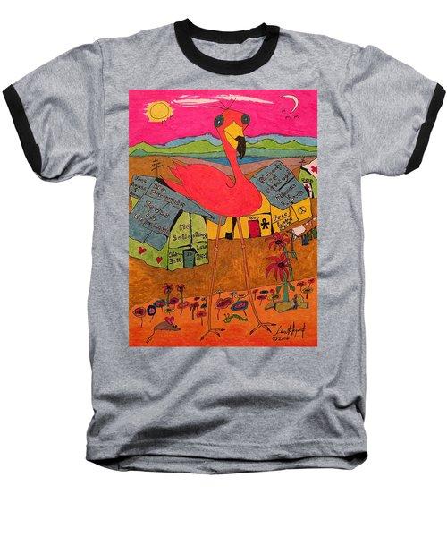 Pink Flamingo Camp Baseball T-Shirt