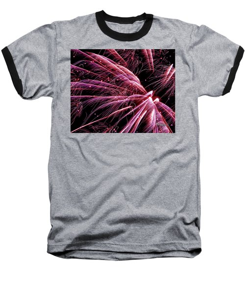 Baseball T-Shirt featuring the photograph Pink Flamingo Fireworks #0710 by Barbara Tristan