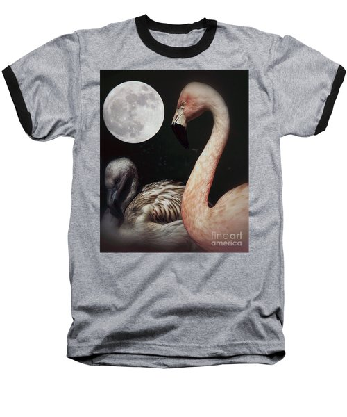 Pink Flamingo Moon 2 Baseball T-Shirt