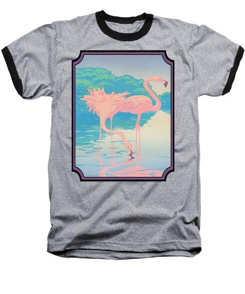 Pink Flamingos Abstract Retro Pop Art Nouveau Tropical Bird Art 80s 1980s Florida Decor Baseball T-Shirt