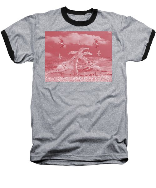 Pink Flamingo's Palms Baseball T-Shirt