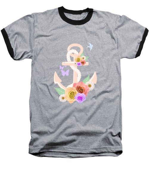 Pink Floral Anchor Baseball T-Shirt