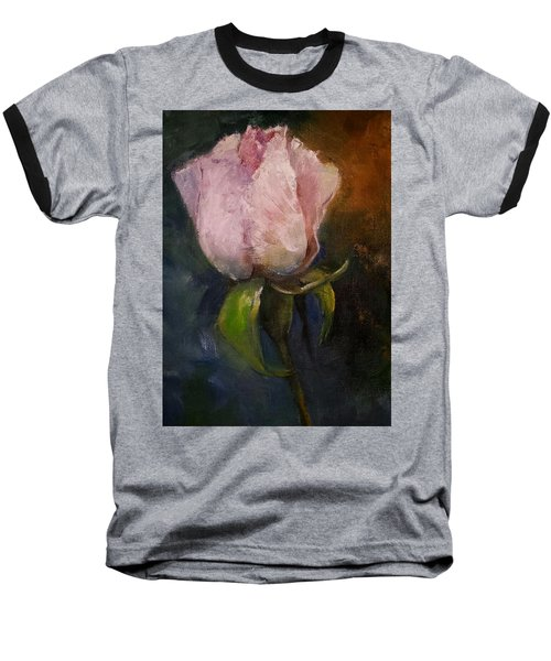 Pink Floral Bud Baseball T-Shirt by Michele Carter