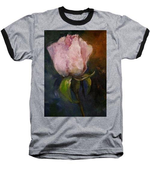 Pink Floral Bud Baseball T-Shirt
