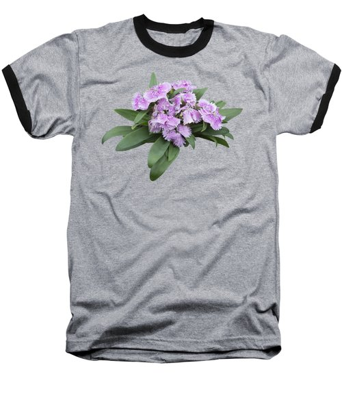 Pink Floral Cutout Baseball T-Shirt by Linda Phelps