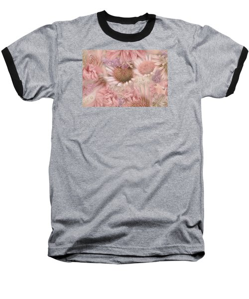 Pink Floral Montage Baseball T-Shirt