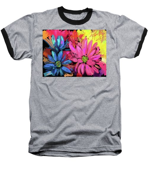 Baseball T-Shirt featuring the painting Pink Flower by DC Langer