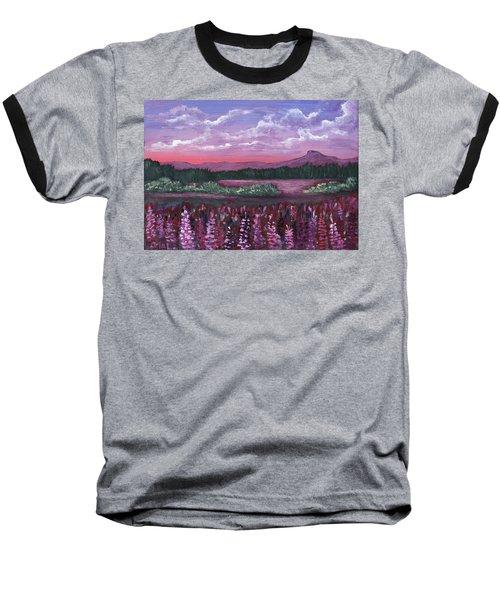 Baseball T-Shirt featuring the painting Pink Flower Field by Anastasiya Malakhova