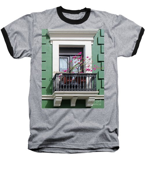 Pink Flowers On Balcony Baseball T-Shirt