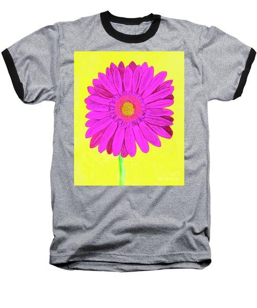 Pink Gerbera On Yellow, Watercolor Baseball T-Shirt
