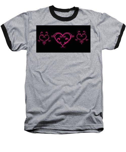 Pink Hearts  Baseball T-Shirt