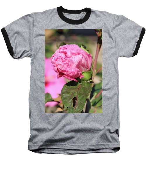 Pink Hibiscus Bud Baseball T-Shirt by Inspirational Photo Creations Audrey Woods