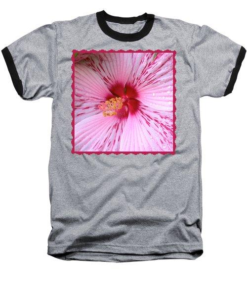 Pink Hibiscus Macro Baseball T-Shirt