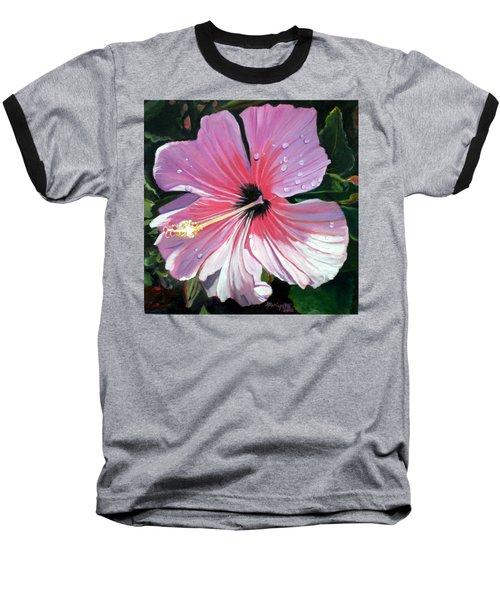 Pink Hibiscus With Raindrops Baseball T-Shirt