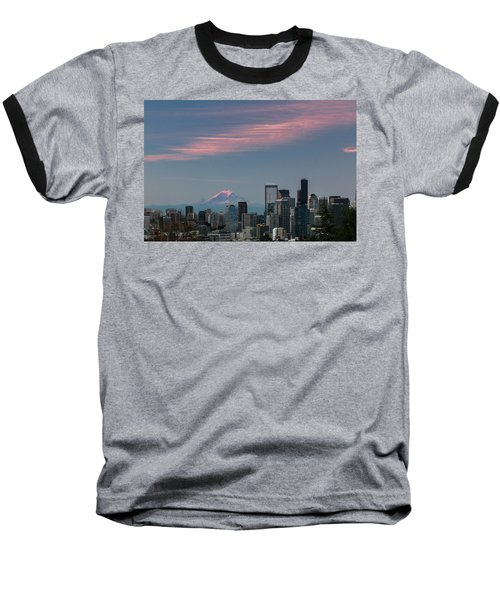 Pink Highlights Over Seattle-mt. Rainier Baseball T-Shirt by E Faithe Lester