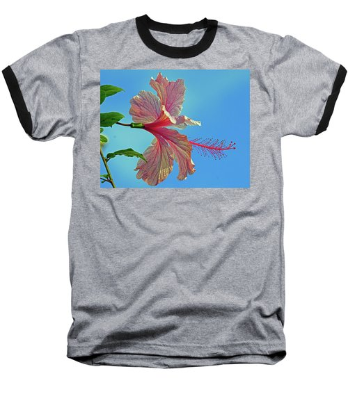 Pink Lady Hibiscus Baseball T-Shirt