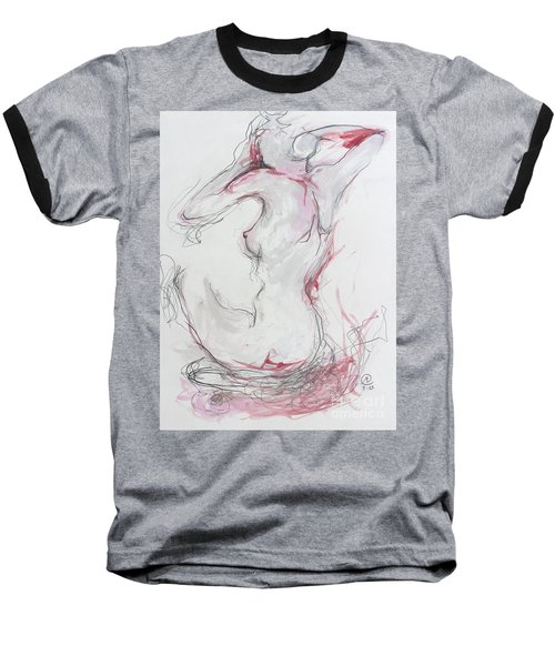Baseball T-Shirt featuring the drawing Pink Lady by Marat Essex