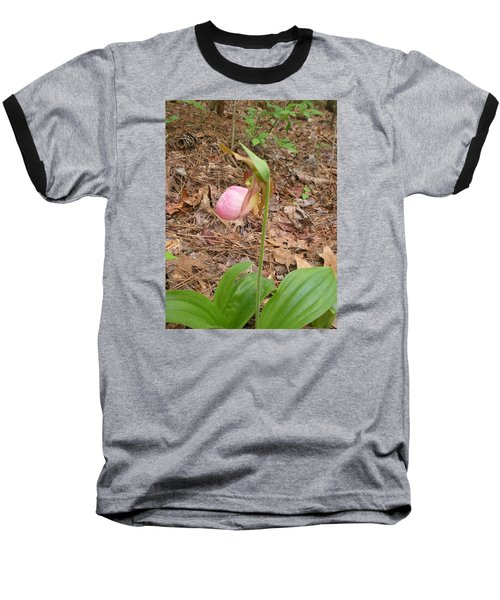 Baseball T-Shirt featuring the photograph Pink Lady's-slipper by Linda Geiger