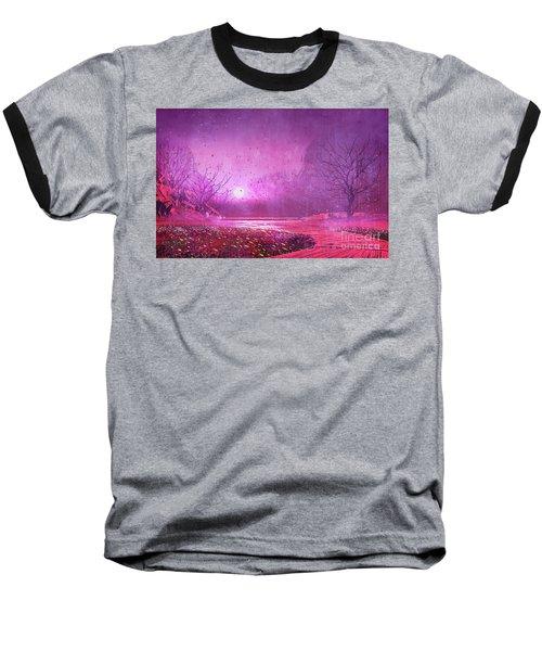 Pink Landscape Baseball T-Shirt