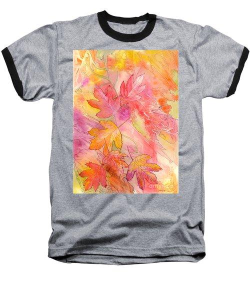 Pink Leaves Baseball T-Shirt