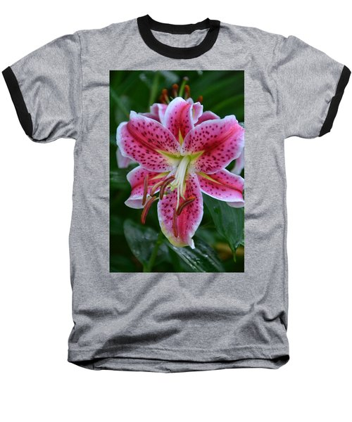 Pink Lily Baseball T-Shirt by Bonnie Myszka