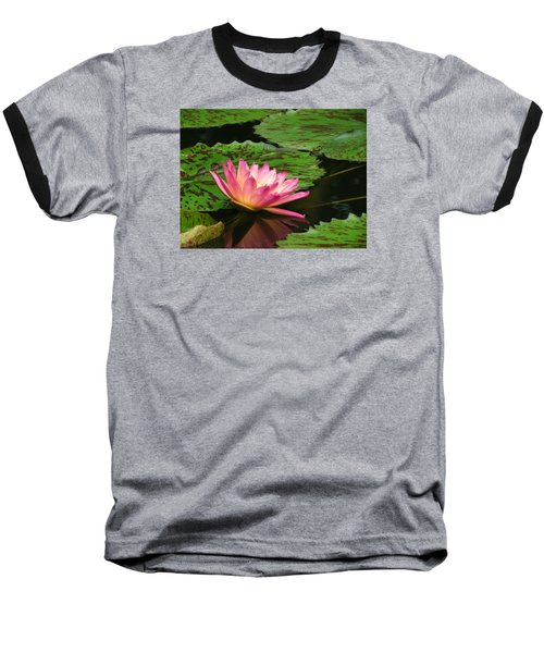Pink Lily Reflection Baseball T-Shirt