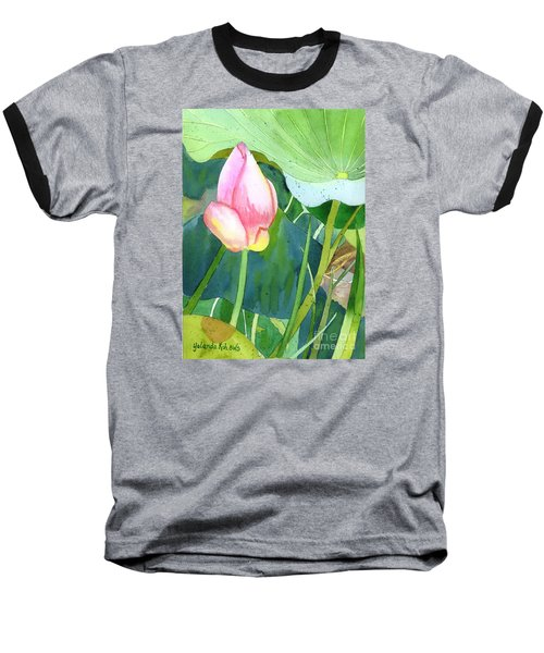 Pink Lotus Baseball T-Shirt by Yolanda Koh