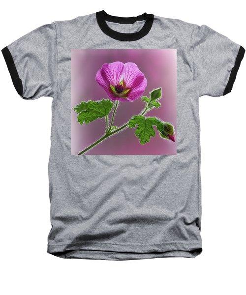 Pink Mallow Flower Baseball T-Shirt